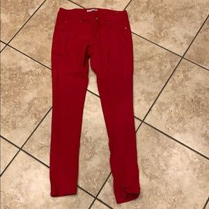 Pants - Red jeggings